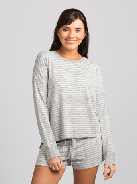 Boxercraft Women's Cuddle Boxy Crew Top in Oxford & Natural Stripe