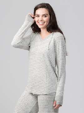 Boxercraft Women's Cuddle V-Neck Hoodie in Oxford and Natural Stripe