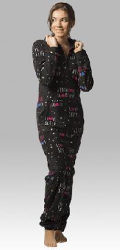 Boxercraft I Love Sleep Hooded Fleece Adult Union Suit