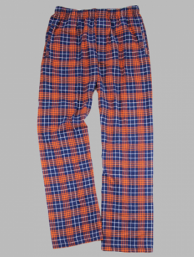 Boxercraft Men's Navy and Orange Classic Plaid Flannel Pajama Pant