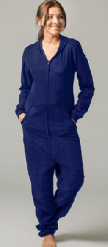 Boxercraft Solid Navy Hooded Fleece Adult Union Suit