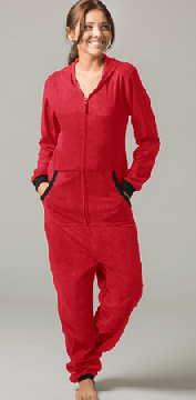 Boxercraft Solid Red Hooded Fleece Adult Union Suit