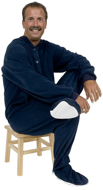 Big Feet Pajamas Adult Navy Fleece One Piece Footy