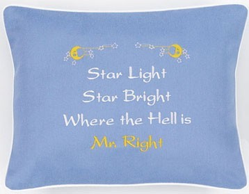 """Star Light Star Bright..."" Blue Embroidered Gift Pillow"