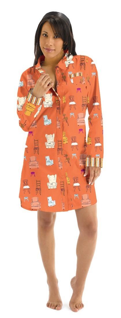Munki Munki Women's Chairs Flannel Nightshirt in Tangerine