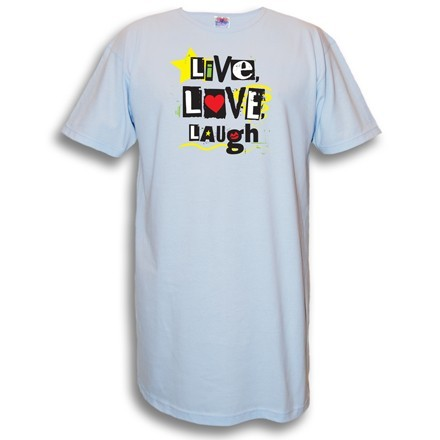 """""""Live, Love, Laugh"""" Nightshirt in Blue"""