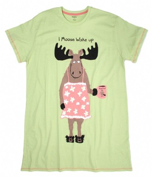 """Little Blue House by Hatley Nature """"Coffee I Moose Wake Up"""" Women's Nightshirt in Sage"""