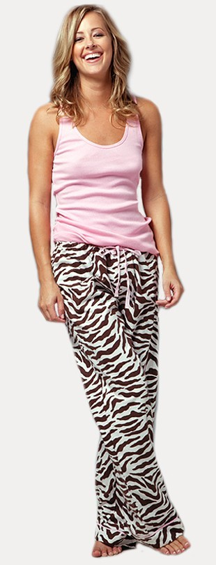 PJ Salvage Touch of Tiger Women's  Flannel Pajama Pant in Chocolate Brown