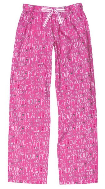 "Be As You Are ""Peace, Love & Happy Hour"" Women's Sleep Pant in Pink"