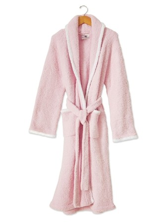 Kashwere Super Soft Shawl Collared Robe in Pink with White Trim