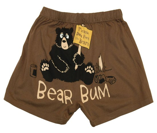 Lazy One Bear Bum Unisex Boxer in Brown