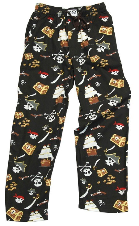 "Lazy One ""Pirates"" Unisex Cotton Pajama Pant in Black"