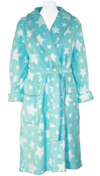 PJ Salvage Stars Women's Plush Robe in Aqua