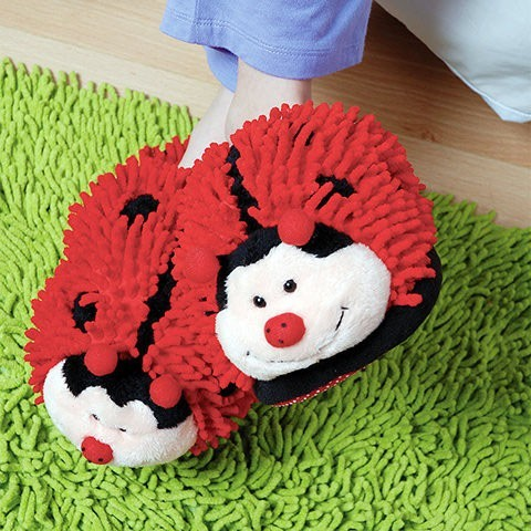 "Fuzzy Friends ""Ladybug"" Slippers from Aroma Home"