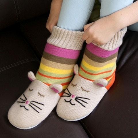 Aroma Home Knitted Cat Slipper Sock