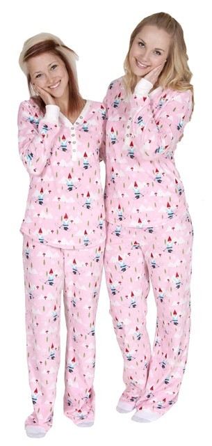 PJ Salvage Gnome Games Women's Thermal Pajama Set in Pink