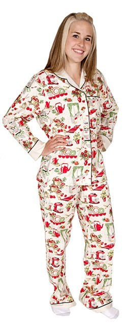 "Daisy Alexander ""Vintage Kitchen"" Cotton Pajama set in Cream"