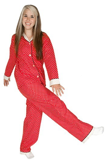 "Daisy Alexander ""Dots"" Cotton Pajama Set in Red"