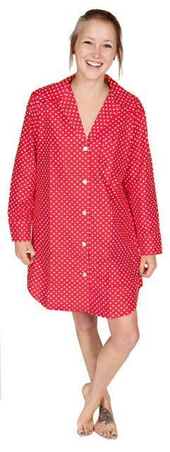 "Daisy Alexander ""Dot"" Coton Nightshirt in Red"