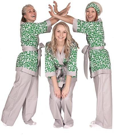 """Daisy Alexander """"Tiny Veggies"""" Kimono Set in Green"""