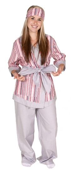 "Daisy Alexander ""Bloom Stripe"" Kimono Cotton Set in Pink and Gray"