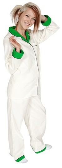 Daisy Alexander Cream Classic Flannel Pajama Set with Green Trim