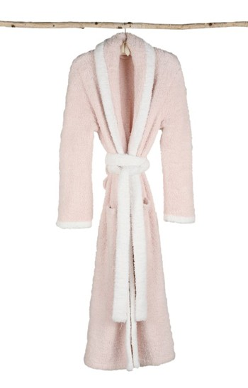 Barefoot Dreams Cozy Chic Contrast Trim Robe in Pink