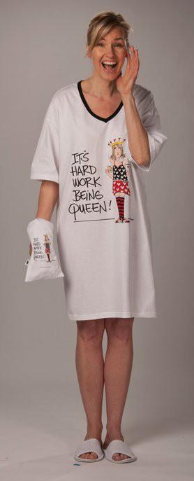 "Emerson Street ""It's Hard Work Being Queen!"" Nightshirt in a Bag"
