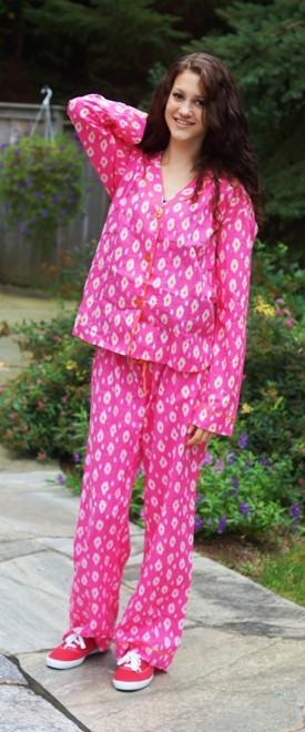 "PJ Salvage Women's ""IKat"" Cotton Pajama Set in Hot Pink"