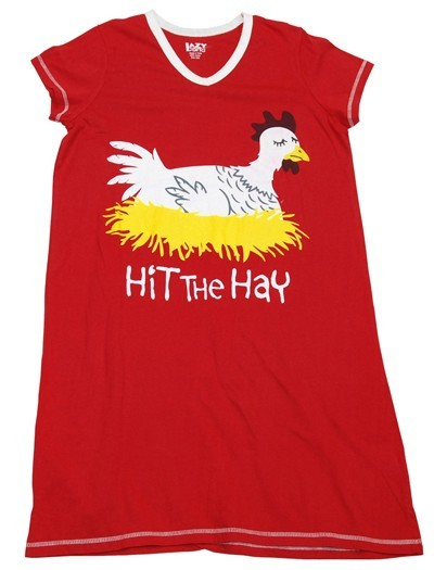 "Lazy One ""Hit The Hay"" Women's V-Neck Nightshirt in Red"