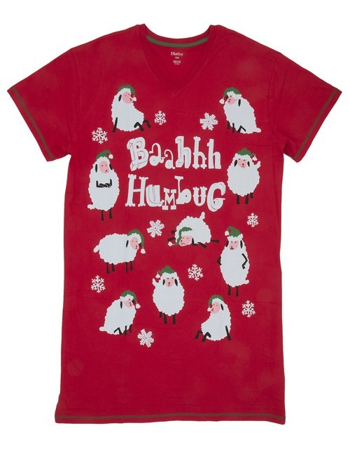 "Hatley Nature ""Bahhh Humbug"" Women's V Neck Nightshirt in Red"