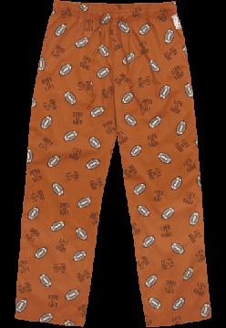 "Life is good Men's ""Tossed Football"" Cotton Pajama Pant in Burnt Orange"