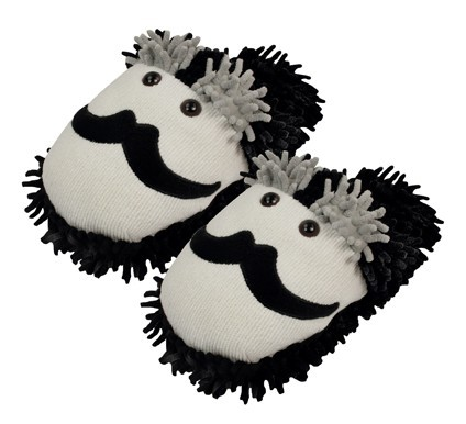 """Fuzzy Friends """"Mustache"""" Slippers from Aroma Home"""