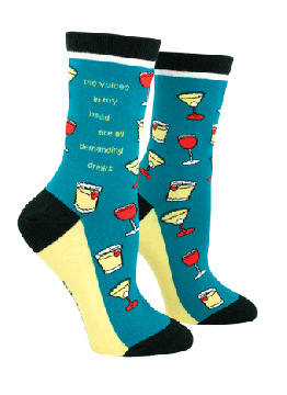 """""""The Voices In My Head Are All Demandng Drinks"""" Crew Sock from Anne Taintor"""