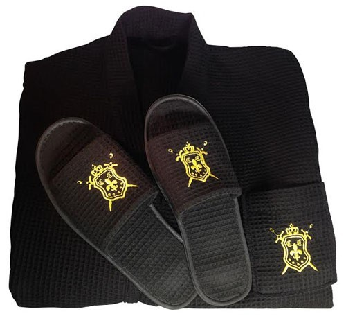 Commanders Closet Men's Spa Robe in Black Waffle Weave with Matching Slippers