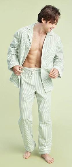 Bedhead Men's Green Pinstripe Classic Poplin Pajama Set