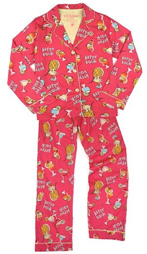 "PJ Salvage Women's Playful Prints ""Happy Hour"" Cotton Pajama Set in Fushia"