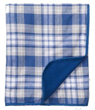 Boxercraft Royal Blue Plaid Flannel Blanket