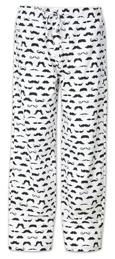 "The Cat's Pajamas Men's ""Mustache"" Cotton Pajama Pant in White"