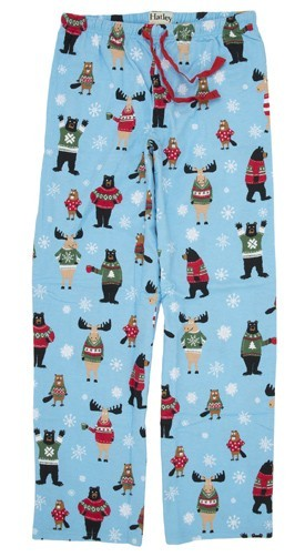 "Hatley Nature Men's ""Beary X-Mas"" Flannel Pajama Pant in Blue"