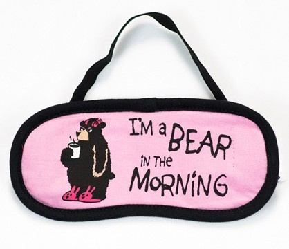 "Lazy One ""I'm A Bear in the Morning"" Eye Mask in Pink"