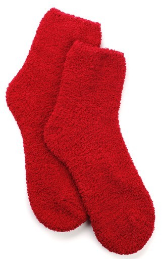Kashwere Plush chenille Lounging Sock in Red