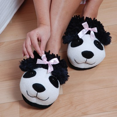 """Fuzzy Friends """"Panda"""" Slippers from Aroma Home"""