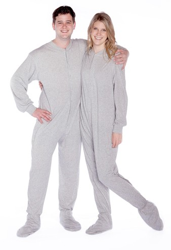 Big Feet Pajamas Adult Gray Jersey Knit One Piece Footy