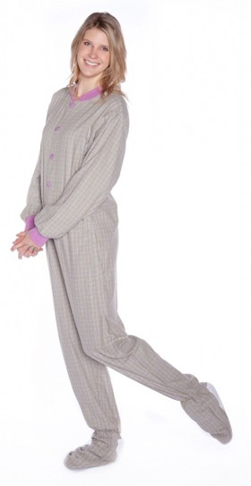Big Feet Pajamas Adult Green and Lavender Plaid Flannel One Piece Footy
