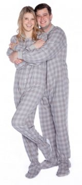 Big Feet Pajamas Adult Gray Plaid Flannel One Piece Footy