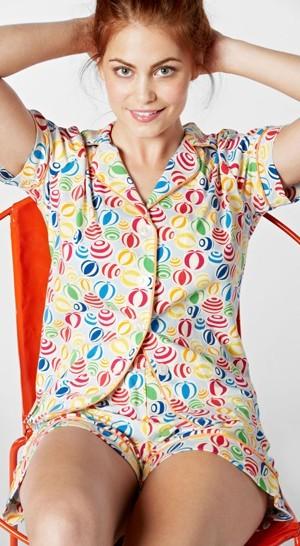 "Bedhead Women's ""Multi Beach Balls"" Classic Stretch Pajama Shorts Set"