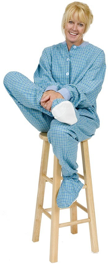 Big Feet Pajamas Adult Light Blue Check Flannel One Piece Footy