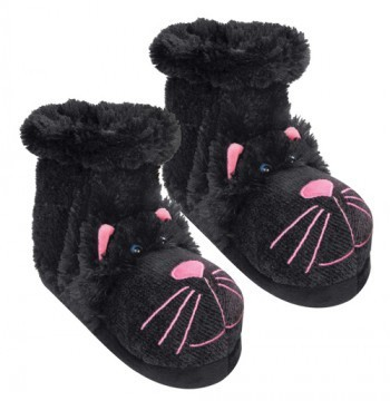 Fun For Feet Black Cat Fuzzy Slipper Socks from Aroma Home