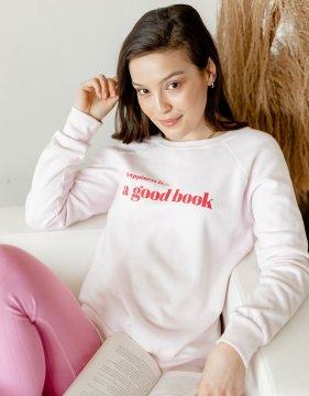 Happiness is...A Good Book Women's Crew Neck Sweatshirt in Ballet Pink